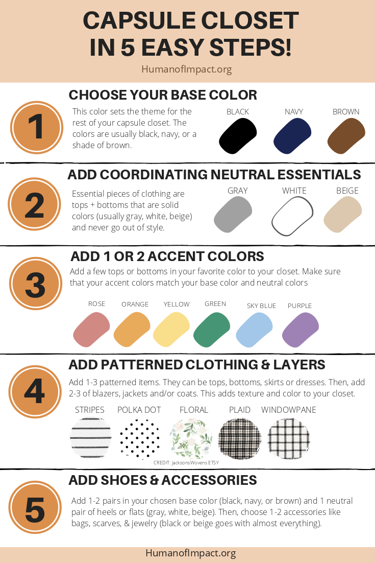 Here's the zero-BS, quick-and-easy guide to creating a capsule closet wardrobe with color and personality! #zerowaste #minimalism #capsulewardrobe #ecofashion